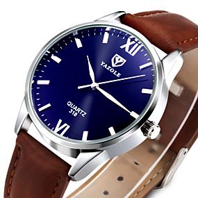 Недорогие Фирменные часы-YAZOLE Муж. Наручные часы Классика Повседневные часы Кожа Черный / Коричневый Аналоговый - Черный Коричневый Один год Срок службы батареи