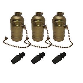 olcso Lámpa aljzatok-3 db e26 / e27 edison aljzat hátsó lámpatartó alumínium cipzáras kivitelű ipari lámpafoglalat lánckerékkel be / ki kapcsolóval