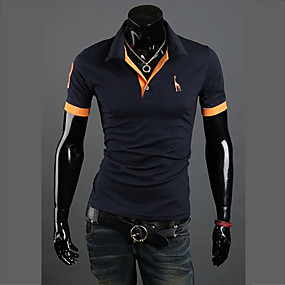 cheap Top Sellers-Men's Plus Size Polo Graphic Solid Colored Slim Tops Cotton Active Shirt Collar White Black Blue / Short Sleeve / Summer