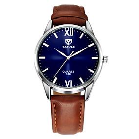 Недорогие Фирменные часы-YAZOLE Муж. Наручные часы Кожа Черный / Коричневый Повседневные часы Аналоговый Классика На каждый день Простые часы - Коричневый Черный Один год Срок службы батареи