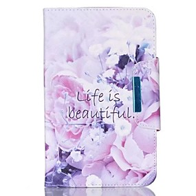 cheap Galaxy Tab 4 8.0 Cases / Covers-Case For Samsung Galaxy / Tab A 9.7 Wallet / Card Holder / with Stand Full Body Cases Flower Hard PU Leather for Tab 4 10.1 / Tab 4 8.0 / Tab 4 7.0