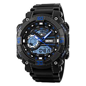 Недорогие Фирменные часы-SKMEI Муж. Спортивные часы Армейские часы Наручные часы Японский Кварцевый Стеганная ПУ кожа Черный 50 m Защита от влаги Будильник Календарь Аналого-цифровые Мода - Черный Оранжевый Синий / LED