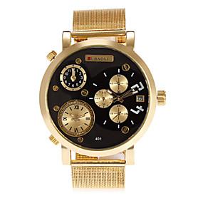 Недорогие Фирменные часы-JUBAOLI Муж. Наручные часы Кварцевый Кожа Золотистый Календарь С тремя часовыми поясами Cool Аналоговый Мода Уникальные творческие часы - Черный Темно-синий Красный Один год Срок службы батареи