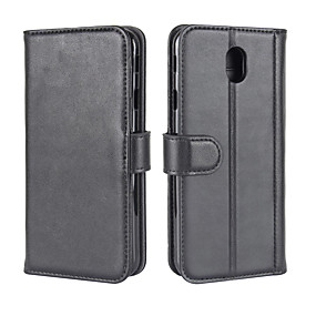 cheap Galaxy J5(2016) Cases / Covers-Case For Samsung Galaxy J7 (2017) / J5 (2017) / J5 (2016) Wallet / Card Holder / with Stand Full Body Cases Solid Colored Hard Genuine Leather