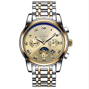Недорогие Фирменные часы-Tevise Муж. Жен. Для пары Спортивные часы Модные часы Часы со скелетом С автоподзаводом На каждый день Защита от влаги Нержавеющая сталь Черный / Коричневый Аналоговый - / Календарь / Светящийся