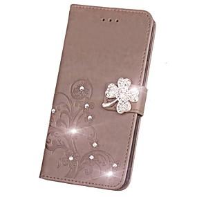 Недорогие Чехлы и кейсы для Galaxy Note 8-Кейс для Назначение SSamsung Galaxy Note 8 / Note 5 / Note 4 Кошелек / Бумажник для карт / Стразы Чехол Цветы Твердый Кожа PU