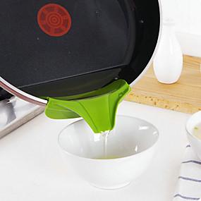 olcso Konyhai eszközök és edények-szilikon tölcsér öntés kifolyó csúszás a rendetlenség szivárgás konyhai edényben kerek deflector él konyhai eszközök