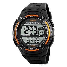Недорогие Фирменные часы-SKMEI Муж. Спортивные часы электронные часы Цифровой Стеганная ПУ кожа Черный Защита от влаги Хронометр Cool Цифровой Оранжевый Красный Серебряный / Серый Два года Срок службы батареи / Maxell CR2025