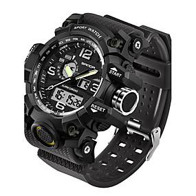 voordelige Merk Horloge-SANDA Heren Sporthorloge Smart horloge Polshorloge Japans Digitaal Silicone Zwart / Wit / Bruin 30 m Waterbestendig LED Dubbele tijdzones Analoog-Digitaal Modieus - Rood Groen Khaki Twee jaar