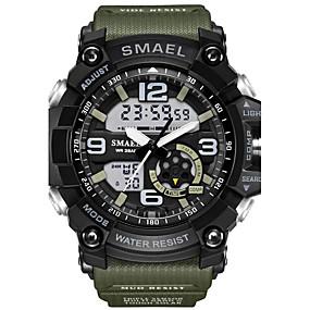 Недорогие Фирменные часы-SMAEL Муж. Спортивные часы Модные часы Армейские часы Японский Цифровой Стеганная ПУ кожа силиконовый Черный / Красный / Оранжевый 50 m Защита от влаги Календарь Секундомер Аналого-цифровые