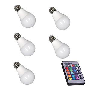 povoljno LED Smart žarulje-5pcs 5 W Smart LED žarulje 400 lm E26 / E27 A60(A19) 15 LED zrnca SMD 5050 Zatamnjen Na daljinsko upravljanje Ukrasno RGBW 85-265 V / RoHs