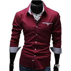 저렴한 최고 판매-남성용 일상 플러스 사이즈 셔츠 솔리드 베이직 긴 소매 슬림 탑스 사업 클래식 카라 화이트 블랙 레드 / 봄 / 가을 / 작동