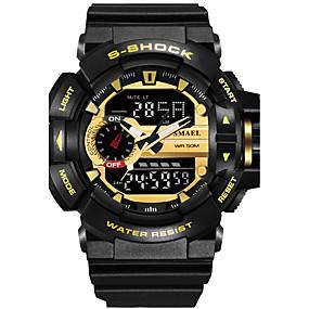 Недорогие Фирменные часы-SMAEL Муж. Спортивные часы Армейские часы электронные часы Японский Цифровой Стеганная ПУ кожа силиконовый Черный / Красный / Оранжевый 50 m Защита от влаги Календарь Секундомер Аналого-цифровые