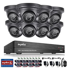 povoljno Zaštita i sigurnost-Sannce® 8ch CCTV sigurnosni sustav onvif 1080p ahd / tvi / cvi / cvbs / ip 5-in-1 DVR s 8 * 2.0mp vodootpornih kamera bez hdd