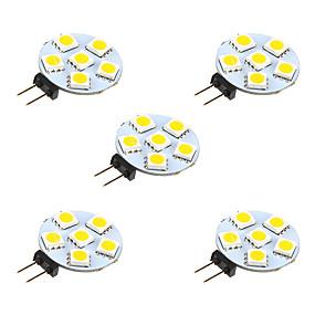 رخيصةأون مصابيح ليد ثنائية-5pcs 1 W أضواء LED Bi Pin 68 lm G4 6 الخرز LED مصلحة الارصاد الجوية 5050 أبيض دافئ أبيض 12 V / 5 قطع