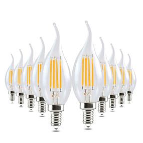 ieftine Becuri LED Lumânare-ywxlight® 10pcs led lampă edison e14 4w 300-400lm condus lumânare lumină filament retro lumină limpede rece cald alb pentru candelabru ac 220-240v