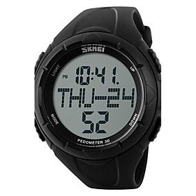 Недорогие Фирменные часы-SKMEI Муж. Спортивные часы электронные часы Цифровой Стеганная ПУ кожа Черный / Зеленый 50 m Защита от влаги Педометры Хронометр Цифровой Черный Зеленый Два года Срок службы батареи