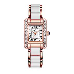 Недорогие Фирменные часы-ASJ Жен. Эксклюзивные часы Наручные часы Diamond Watch Японский Кварцевый Керамика Серебристый металл / Розовое золото 30 m Защита от влаги Творчество Аналоговый Дамы Блестящие - / Один год