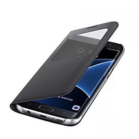 voordelige Galaxy S7 Hoesjes / covers-hoesje Voor Samsung Galaxy S8 Plus / S8 / S7 edge met venster Volledig hoesje Effen Hard PU-nahka