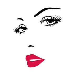 저렴한 장식 스티커-사람 패션 만화 벽 스티커 플레인 월스티커 데코레이티브 월 스티커, 비닐 홈 장식 벽 데칼 벽 유리 / 욕실