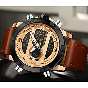 Недорогие Фирменные часы-NAVIFORCE Муж. Спортивные часы Кварцевый Цифровой Кожа Черный / Коричневый 30 m Защита от влаги Календарь Секундомер Аналого-цифровые Роскошь Классика На каждый день Мода - / Два года / ЖК экран
