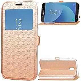 voordelige Galaxy J3(2017) Hoesjes / covers-hoesje Voor Samsung Galaxy J7 (2017) / J5 (2017) / J3 (2017) Kaarthouder / met standaard / met venster Volledig hoesje Effen Hard PU-nahka