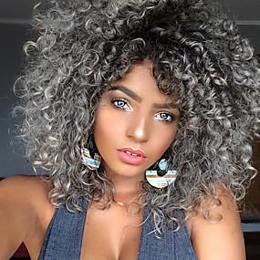 ieftine Sănătate & Înfrumusețare-Peruci Sintetice Buclat Kinky Curly Kinky Curly Buclat Perucă Mediu Negru / Gri Păr Sintetic Pentru femei Rezistent la Căldură Păr Ombre Gri