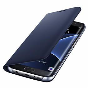 voordelige Galaxy S7 Hoesjes / covers-hoesje Voor Samsung Galaxy S8 Plus / S8 / S7 edge Kaarthouder / Flip Volledig hoesje Effen Kleur Hard PU-nahka
