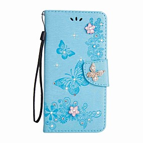 baratos Comprar por Modelo de Celular-Capinha Para Samsung Galaxy S8 Plus / S8 / S7 edge Carteira / Porta-Cartão / Com Strass Capa Proteção Completa Borboleta Rígida PU Leather