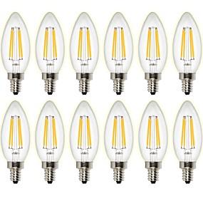 olcso Vásároljon többet, és spóroljon-12db 4 W 400 lm Izzószálas LED lámpák C35 4 led COB Tompítható Dekoratív Meleg fehér AC 220-240 AC 110-130 V