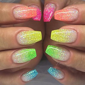 ieftine Îngrijire Unghii-12pcs / 1set Strălucire Pentru 12 Culori nail art pedichiura si manichiura Elegant & Luxos / Strălucitor & Sclipitor / Glitter de unghii