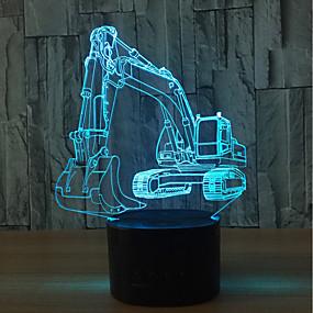 رخيصةأون مصابيح ليد مبتكرة-1SET ليلة 3D USB استشعار تعمل باللمس / لون التغير فني / LED