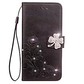 olcso Galaxy S4 tokok-Case Kompatibilitás Samsung Galaxy S6 edge / S6 / S5 Pénztárca / Kártyatartó / Strassz Héjtok Virág Kemény PU bőr