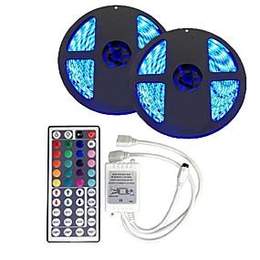 povoljno LED trakasta svjetla-10m svjetlosni setovi 300 led 5050 smd 10 mm rgb daljinski upravljač / rc / cuttable / zatamniv 12 v / povezivanje / samoljepljivo / mijenjanje boja / ip44