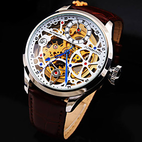 cheap junming-Men's Skeleton Watch Mechanical Watch Automatic self-winding Ladies Hollow Engraving Analog Black Brown / White / Genuine Leather / Genuine Leather