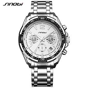 Недорогие Фирменные часы-SINOBI Муж. Спортивные часы Наручные часы Кварцевый Металл Серебристый металл 30 m Календарь Секундомер Ударопрочный Аналоговый Роскошь На каждый день Cool - Белый / Серебристый / Крупный циферблат