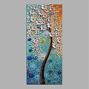 رخيصةأون لوحات-هانغ رسمت النفط الطلاء رسمت باليد - الأزهار / النباتية ملخص بدون إطار داخلي / توالت قماش