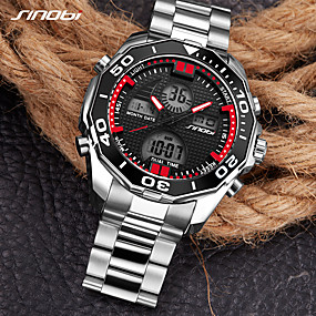 voordelige Merk Horloge-SINOBI Heren Sporthorloge Militair horloge Digitaal horloge Japans Digitaal Roestvrij staal Zilver 30 m Alarm Kalender LED Analoog-Digitaal Luxe Informeel minimalistische Cool Gunmetal Watch - Zilver
