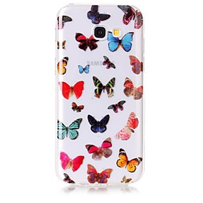 voordelige Galaxy A5(2016) Hoesjes / covers-hoesje Voor Samsung Galaxy A5(2017) / A3(2017) IMD / Transparant / Patroon Achterkant Vlinder Zacht TPU voor A3 (2017) / A5 (2017) / A5(2016)