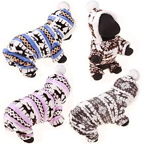 preiswerte Haustierzubehör-Hund Pullover Kapuzenshirts Overall Rentier Lässig / Alltäglich nette Art Winter Hundekleidung Blau Rosa Grau Kostüm Baumwolle S M L XL XXL