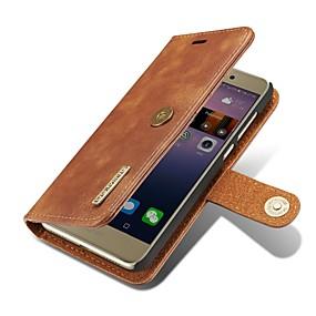 Недорогие Чехлы и кейсы для Huawei Mate-Кейс для Назначение Huawei P9 / Huawei P10 Plus / P10 / Huawei P9 Кошелек / Бумажник для карт / Флип Чехол Однотонный Твердый Настоящая кожа