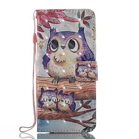 baratos Comprar por Modelo de Celular-Capinha Para Samsung Galaxy S8 Plus / S8 / S7 edge Carteira / Porta-Cartão / Com Suporte Capa Proteção Completa Corujas Rígida TPU