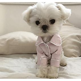 billige Kæledyr Forsyninger-Hund Pyjamas Britisk Afslappet / Hverdag Vinter Hundetøj Hvid Sort Lys pink Kostume Silke S M L XL XXL