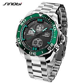 Недорогие Фирменные часы-SINOBI Муж. Спортивные часы Наручные часы электронные часы Японский Цифровой Нержавеющая сталь Серебристый металл 30 m LED Cool Аналого-цифровые Роскошь На каждый день - Темно-зеленый