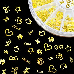cheap Nail Care-new 3d gold metal nail art sticker design tiny slice diy nail accessories