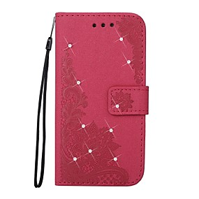 cheap Galaxy J3(2016) Cases / Covers-Case For Samsung Galaxy J5 (2017) / J5 (2016) / J5 Wallet / Card Holder / Rhinestone Full Body Cases Lace Printing / Flower Hard PU Leather