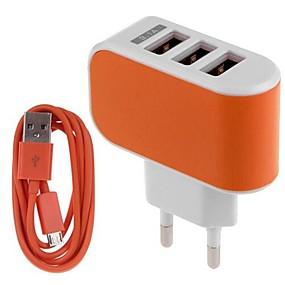 levne Nabíječka s kabelem-Domácí nabíječka / Přenosná nabíječka Nabíječka USB EU zásuvka Nabíjecí sada / Více portů 3 USD porty 3.1 A pro