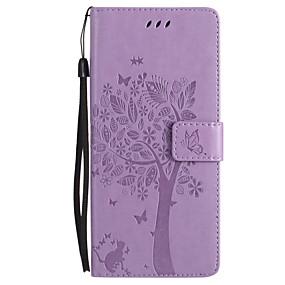 Недорогие Чехлы и кейсы для Galaxy Note 8-Кейс для Назначение SSamsung Galaxy Note 8 / Note 5 / Note 4 Кошелек / Бумажник для карт / со стендом Чехол Кот / Бабочка / дерево Твердый Кожа PU