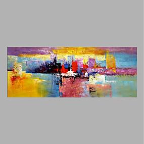 رخيصةأون لوحات-هانغ رسمت النفط الطلاء رسمت باليد - تجريدي ملخص بدون إطار داخلي / توالت قماش