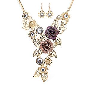 olcso Virágos ékszerek-Női Nyilatkozat nyakláncok Virág Róka Nyilatkozat Vintage Strassz Rózsa arany bevonattal Arany Nyakláncok Ékszerek Kompatibilitás Színpad Munka